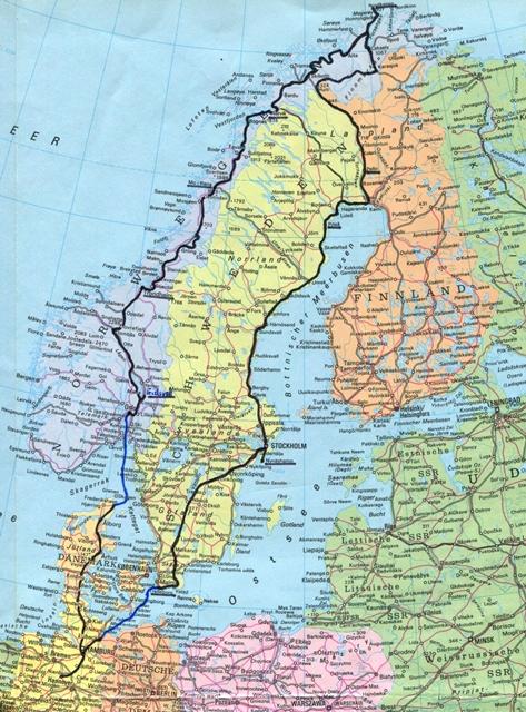 Karte Nordkap Nordwind
